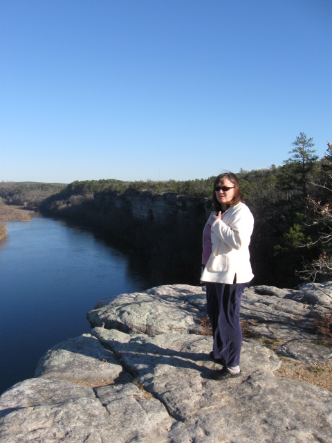 Sheila at City Rock Bluff along the White River near our home.